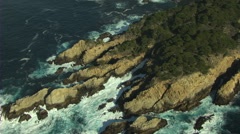 Stock Video Footage of Aerial Pacific rugged coastline nature Monterey USA