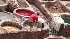 Chouara tannery in Fez, Morocco Stock Footage