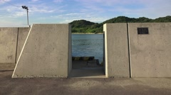 Tsunami Wall On Japanese Island Seto Sea 4K Stock Footage