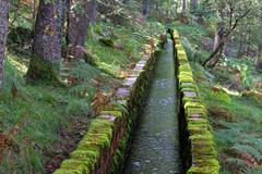 irrigation ditch for water channeling - stock photo