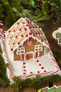 Homemade candy gingerbread house Stock Photos