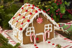 homemade candy gingerbread house - stock photo