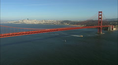 Stock Video Footage of Aerial multiple lane Highway 101 Golden Gate Bridge USA
