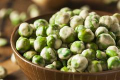 homemade dry spice wasabi peas - stock photo