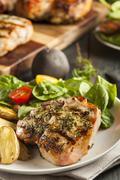 Large grilled pork chop Stock Photos