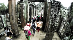 Time Lapse of tourists in Bayon temple. Cambodia. 4K Stock Footage