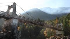 HD bridge, mountain and fog Stock Footage