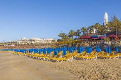 Beach of playa blanca without people in early morning Stock Photos
