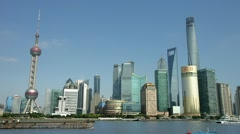 Panorama of Shanghai Skyline in Pudong District, China, BlackMagic 4K Camera Stock Footage