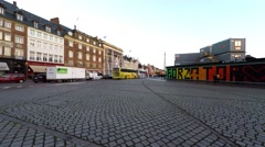 In central Copenhagen lots of places are cobbled like this one Stock Footage