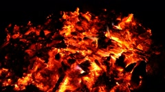 Embers and ashes of huge fire place - stock footage
