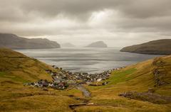 Kvivik Small Town Faroe Islands on Water Stock Photos