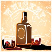 bottle of old whiskey - stock illustration