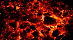 Embers and ashes of huge fire place Stock Footage