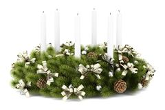 Stock Illustration of christmas table decoration wreath with candles isolated on white background