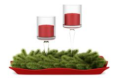Christmas table decoration with candles isolated on white background Stock Illustration