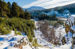 Tyulyuk village in the mountains of the southern urals Stock Photos