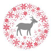 Winter Christmas Round Wreath with Snowflakes and Goat. Red Grey - stock illustration