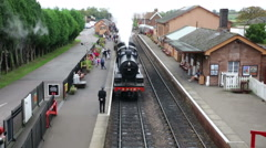 Bishops Lydeard station and steam train Somerset Stock Footage