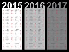 Stock Illustration of Simple calendar year 2015, 2016, 2017