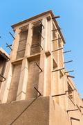 old merchant quarter in dubai with traditional conditioning wind towers - stock photo