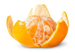 Partially purified juicy tangerine Stock Photos