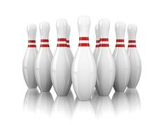 Ten bowling pins isolated on white background Stock Illustration