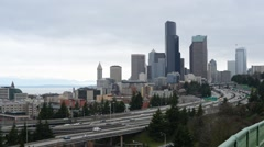 Time-lapse of downtown Seattle buildings and Interstate Stock Footage