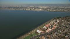 Stock Video Footage of Aerial Bay Shoreline Alameda Bay San Francisco