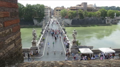 Italy Rome castle di Angelo bridge hi angle time lapse Stock Footage