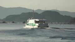 Passenger Ferry Boat Sails By Mountain Islands 4K Stock Footage