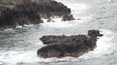 Waves and rocks, Hamakua in Hawaii Stock Footage