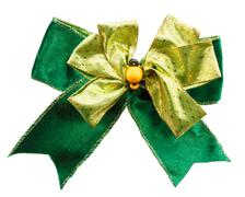 Green color bow on white background (isolated) Stock Photos