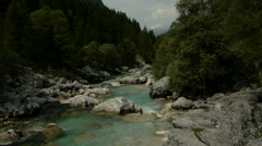 Close up of down stream river rapids - stock footage