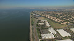 Stock Video Footage of Aerial Shoreline Oakland Airport Alameda San Francisco USA