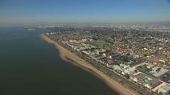 Stock Video Footage of Aerial Alameda beach Shoreline suburbs San Francisco USA