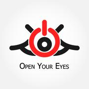 open your eyes (turn on/off  symbol) - stock illustration