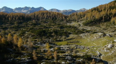 Aerial perspective of majestic wild mountain valley Stock Footage