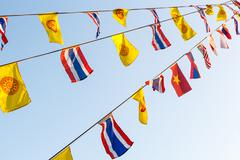 National flags and wheel of dhamma 's flags Stock Photos