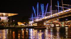 Kurilpa Bridge Brisbane festival of light TL 4K Stock Footage