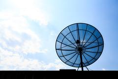 satellite dish on roof - stock photo