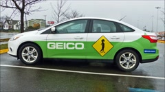 Geico insurance company car, loop Stock Footage