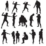 Silhouttes of a man and a woman Piirros