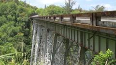 Pedestrian bridge in Hamakua Hawaii.  Made of stone Stock Footage