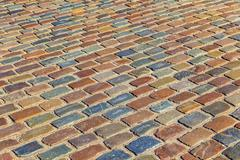 pattern of old cobble stone street - stock photo