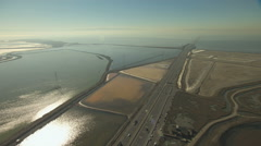 Aerial tidal sediment salt Ponds San Francisco USA - stock footage