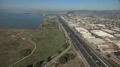 Aerial Pacific coastline Interstate 80 Emeryville USA Stock Footage
