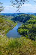saar loop at cloef. a famous view point. - stock photo
