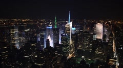New York panoramic aerial night view from Empire State Building - stock footage