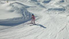 Young teenage girl skiing and enjoying ski cross in ski park Stock Footage